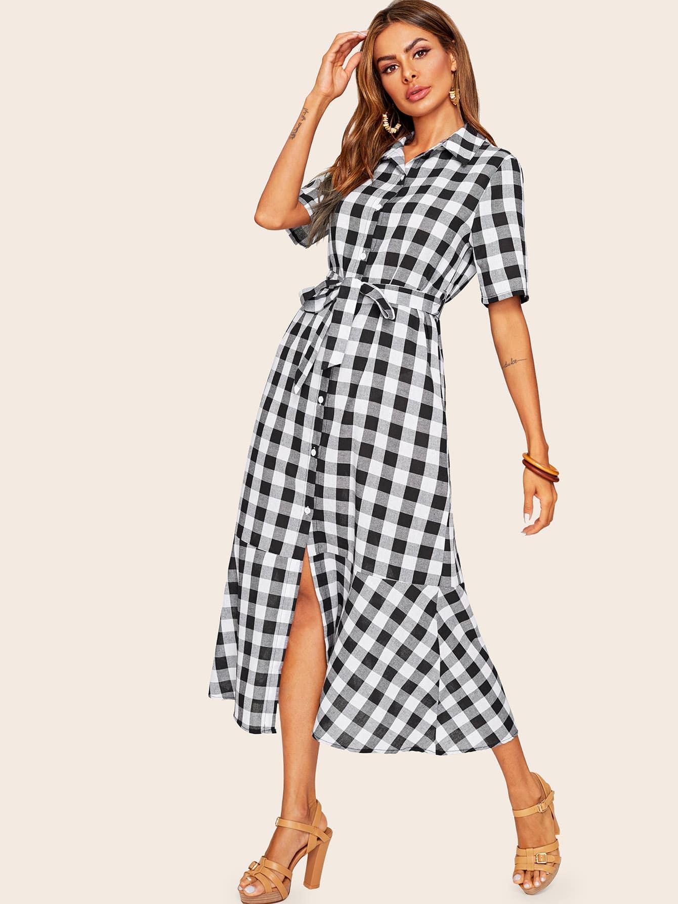 Фото - Платье-рубашка в клетку с оборками и поясом от SheIn цвет чёрнобелые