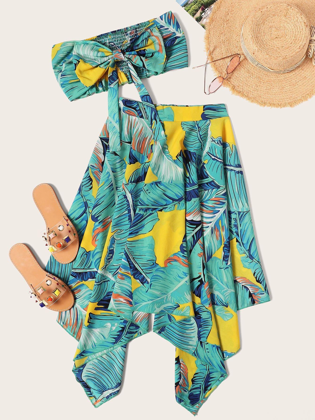 Фото - Топ бандо с бантом и юбка с лиственным принтом от SheIn цвет многоцветный