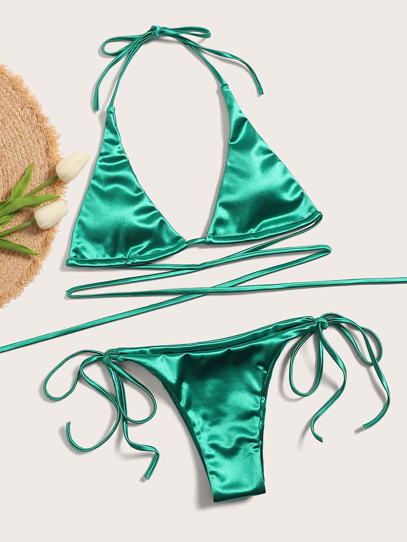 Фото - Бикини халтер с завязками по бокам от SheIn зеленого цвета