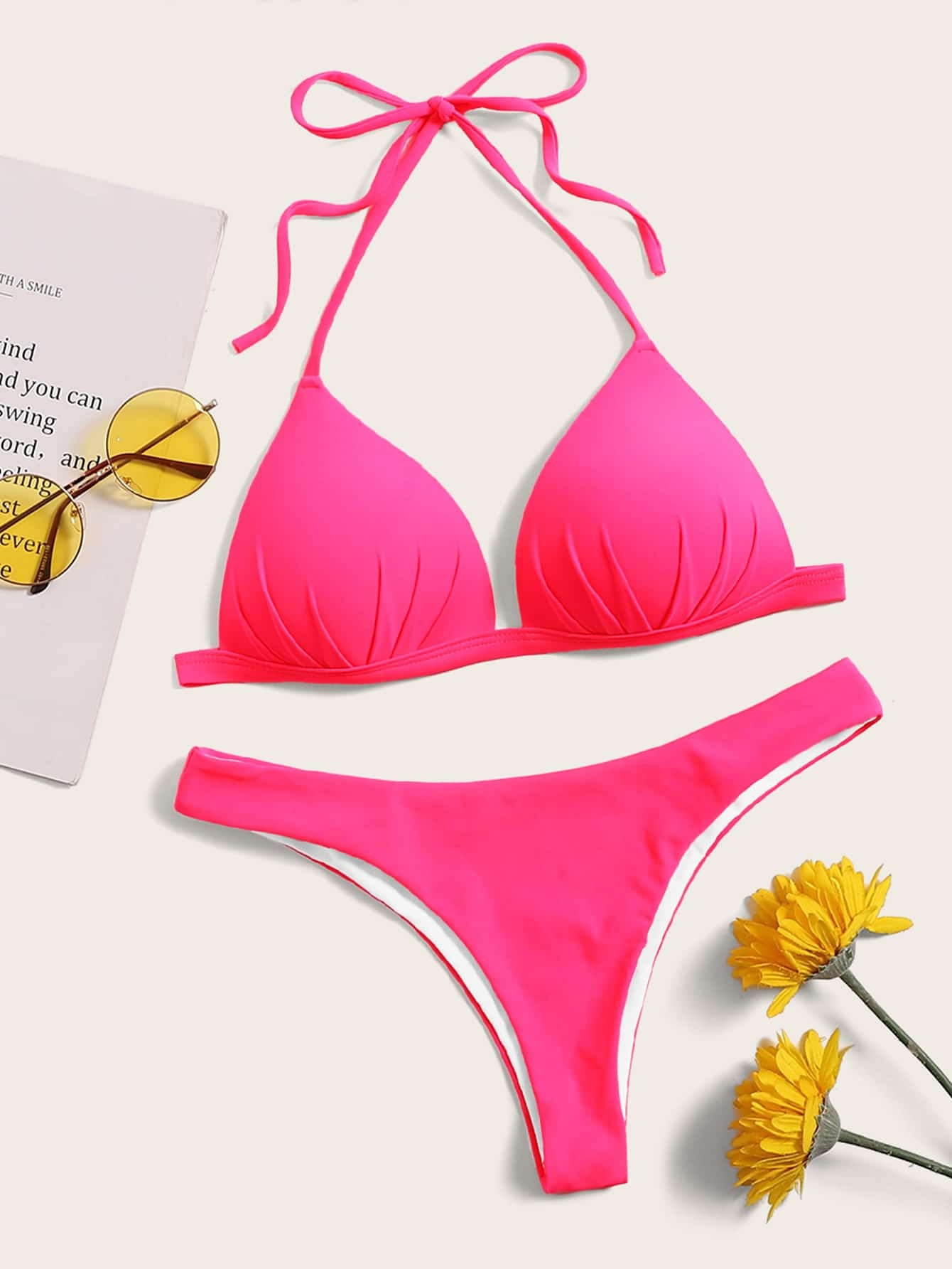 Фото - Однотонный комплект бикини халтер от SheIn розового цвета