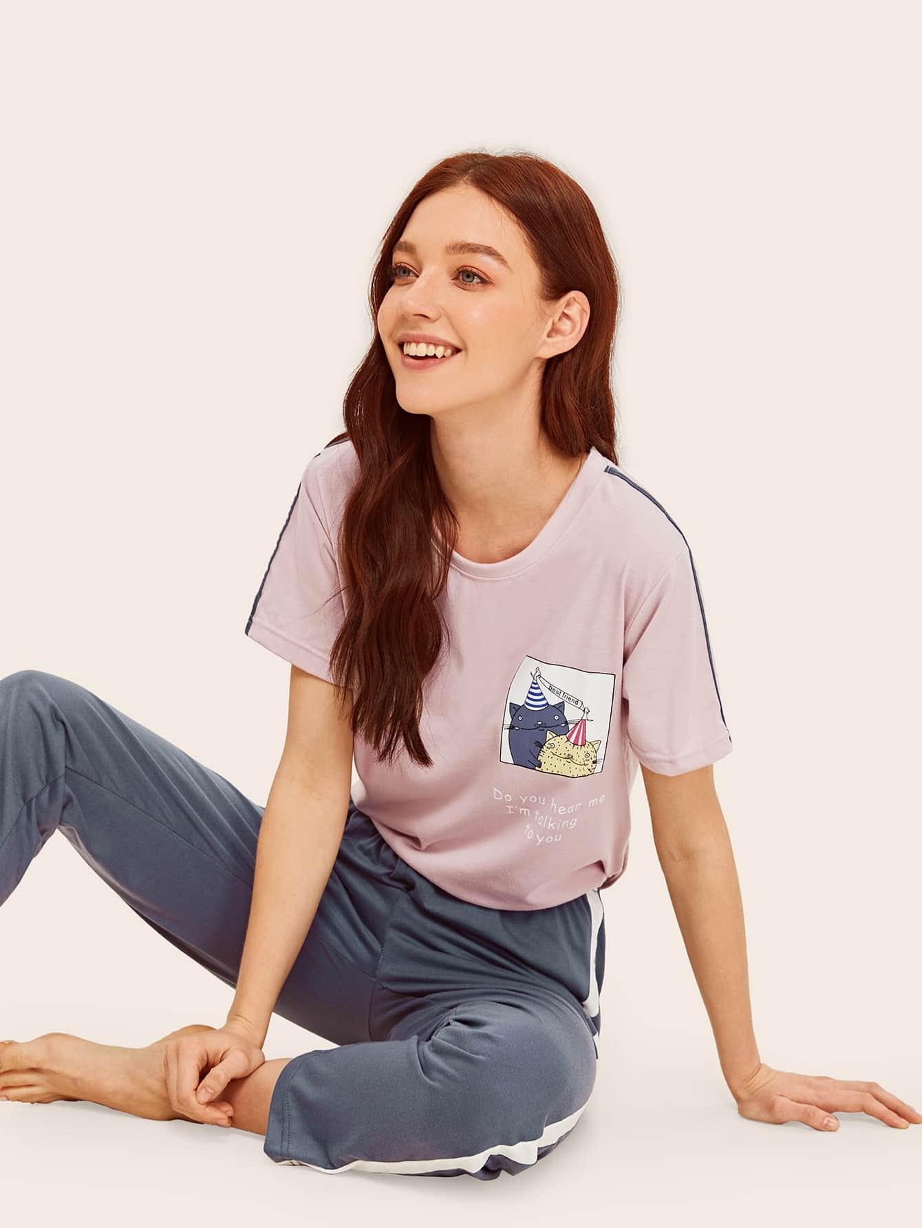 Купить Пижама с мультяшным и текстовым принтом, Poly, SheIn