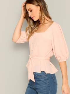 Lantern Sleeve Buttoned Front Self Belted Blouse
