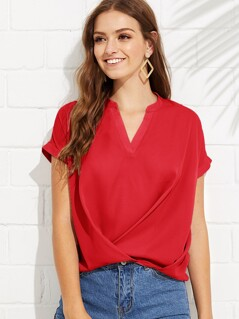 Draped V-neck Boxed Pleated Top