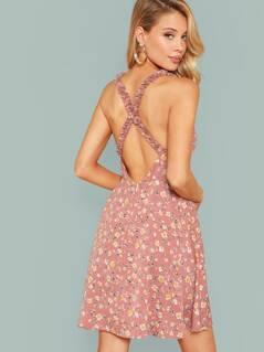 Criss-cross Back Frill Trim Ditsy Floral Dress