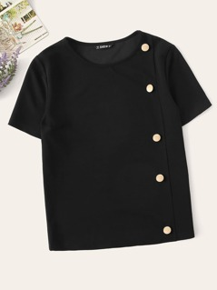 Button Embellished Solid Top