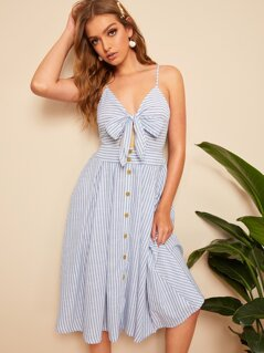 Mixed Striped Knot Plunging Cami Dress