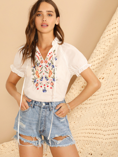 Tie Neck Flower Embroidered Frill Trim Top