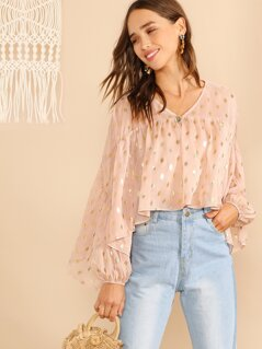 Metallic Dot Ruffle Smock Top
