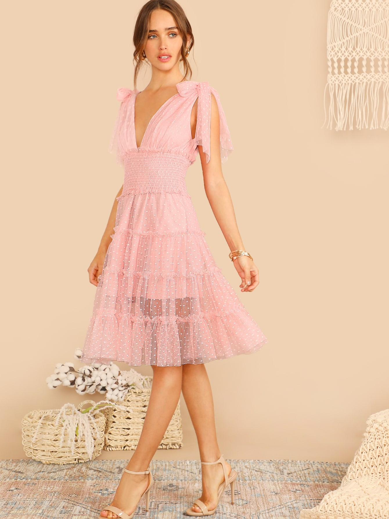 85706b86a4ce Shoulder Knot Plunge Neck Mesh Dress | SHEIN UK