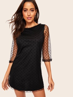 Frilled Cuff Dot Mesh Overlay Dress