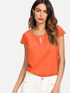 Neon Orange Scalloped Trim Sleeve Blouse