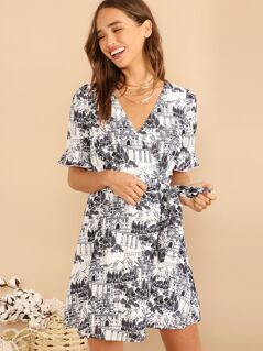 Surplice Wrap Knotted Landscape Print Dress
