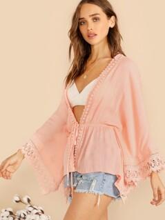 Lace Trim Bell Sleeve Tie Waist Kimono