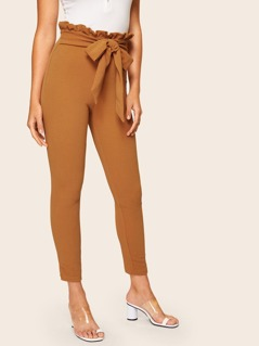 Frill Trim Bow Tie Waist Solid Pants