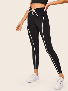 Lace Up Waist Contrast Binding Leggings