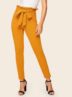 Paperbag Waist Knot Textured Pants