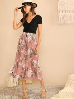 Frilled Waist Botanical Pleated Culotte Pants