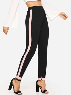 Contrast Panel Slit Detail Pants