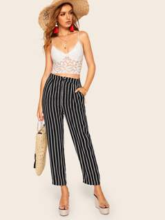 Striped Slant Pocket Pants
