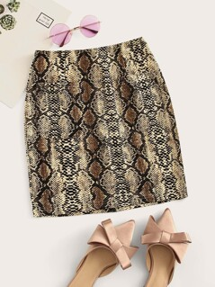 Pocket Patched Snake Print Skirt