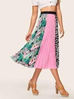 Color Block Mixed Print Skirt