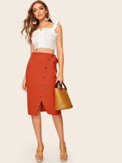 Knot Waist Button Front Split Skirt