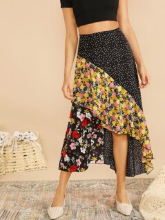 Cut-and-sew Polka Dot & Floral Asymmetric Skirt