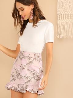 Textured Floral Ruffle Hem Skirt
