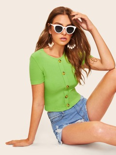 Buttoned Front Rib-knit Tee