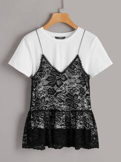 2 In 1 Floral Lace Cami Tee