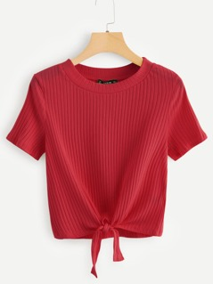 Knot Front Ribbed Knit Tee