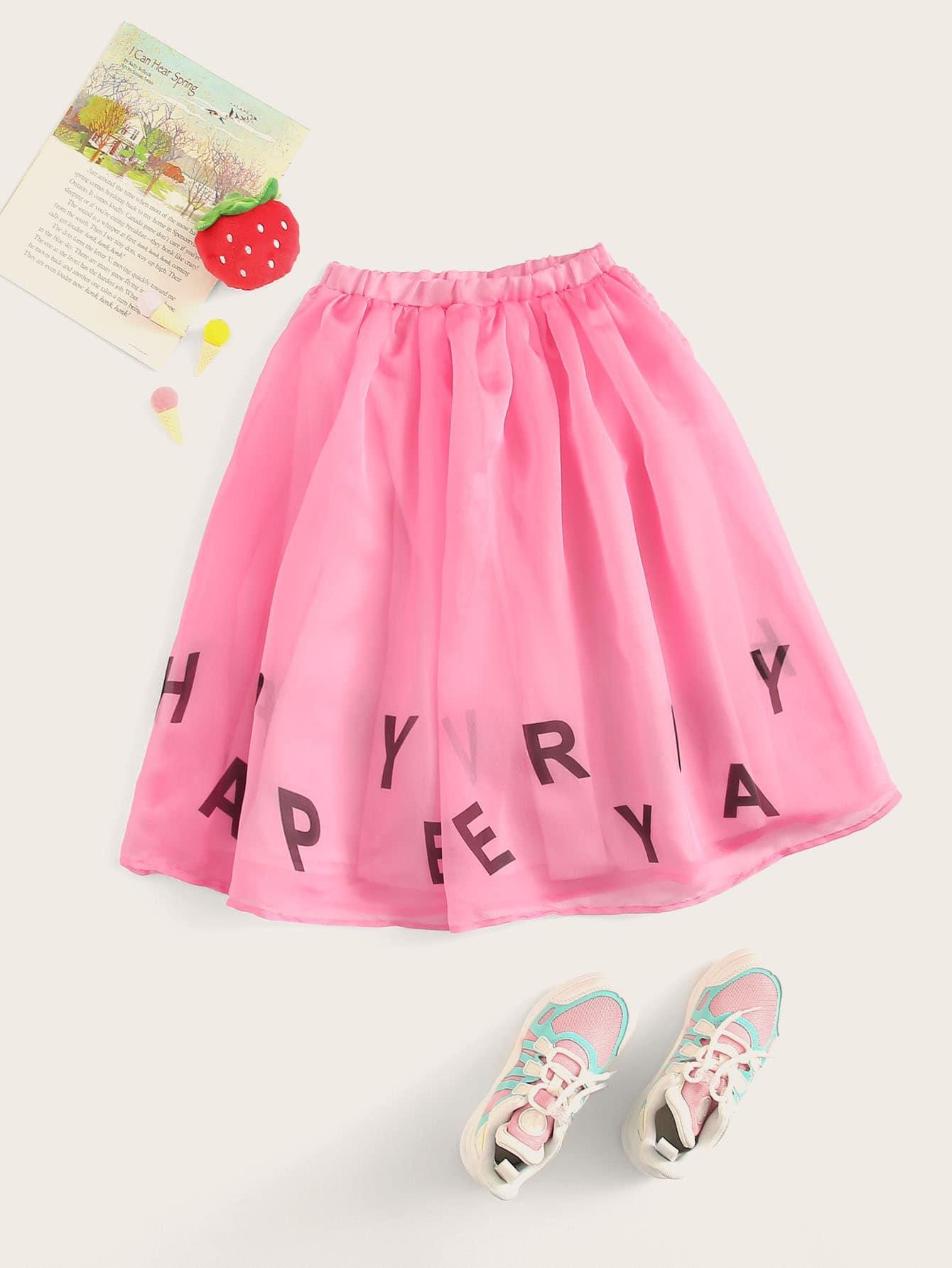 Фото - Юбку с эластичной талией и текстовым принтом для девочек от SheIn розового цвета