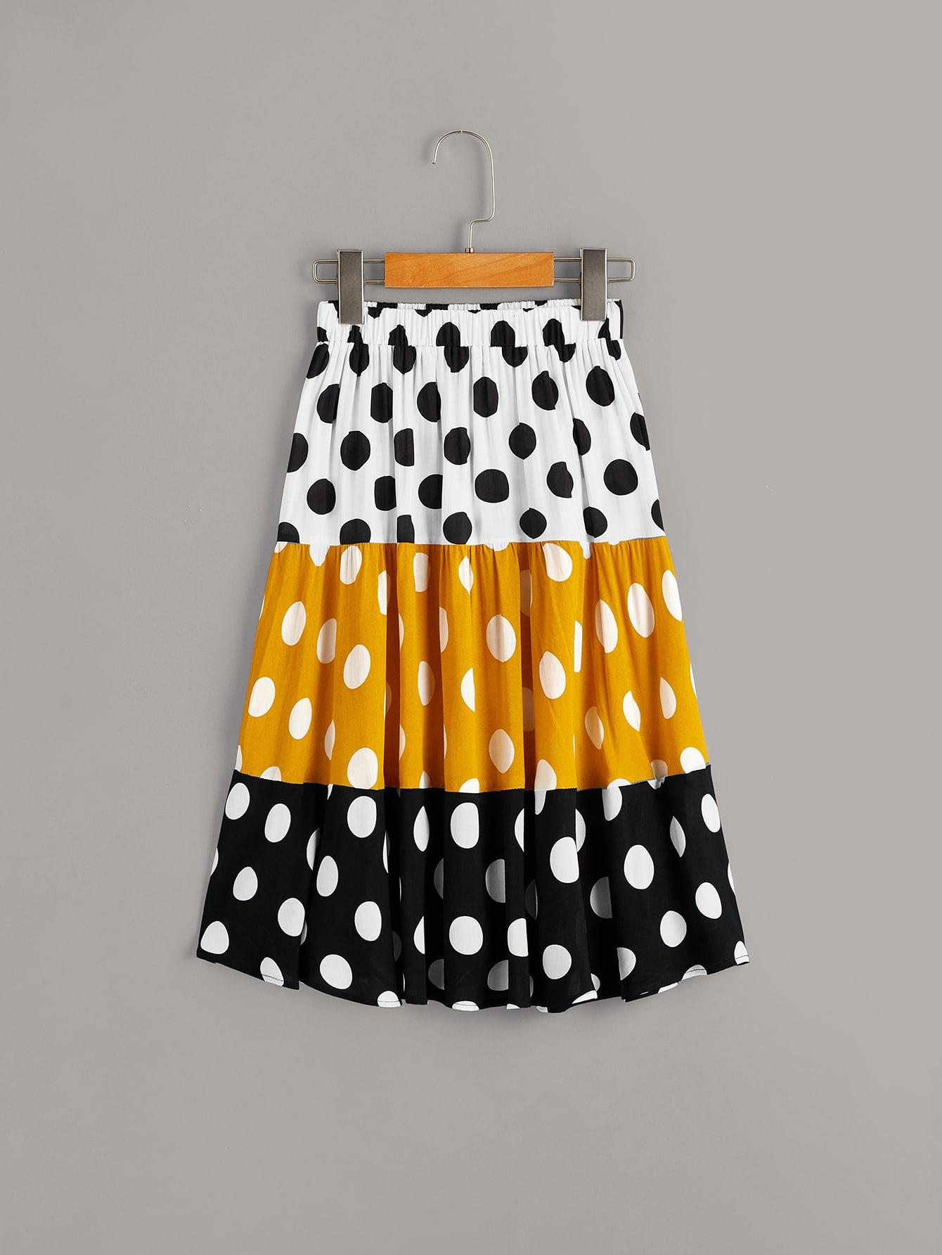 Фото - Контрастная юбка с эластичной талией для девочек от SheIn цвет многоцветный