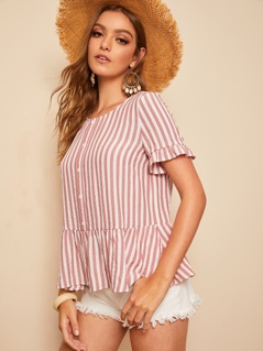 Ruffle Cuff & Hem Button Front Striped Blouse