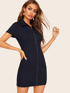 Zip Front Fitted Denim Dress