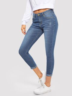 Light Bleach Wash Skinny Jeans