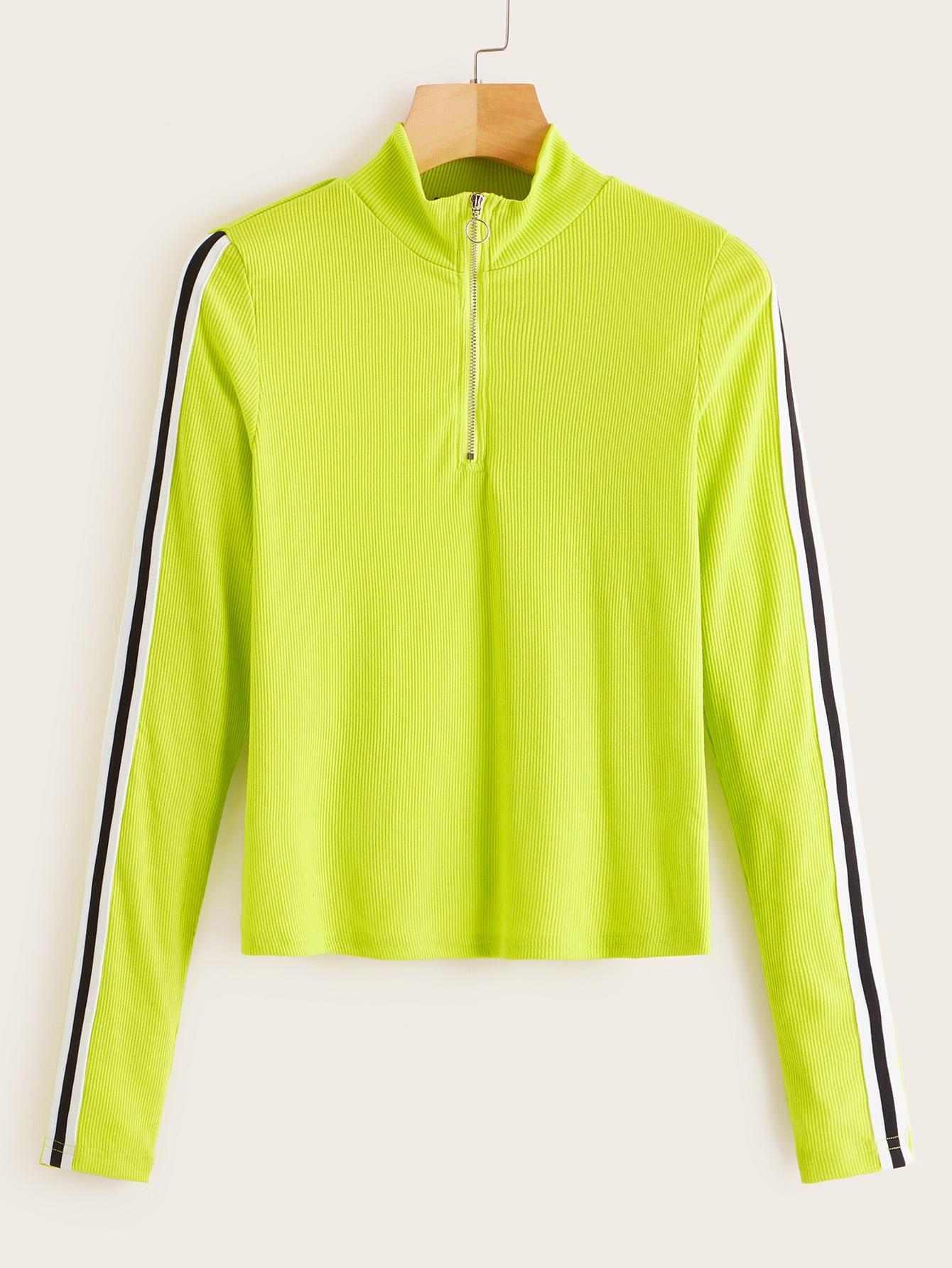Фото - Трикотажная футболка с полосками от SheIn цвет зелёный