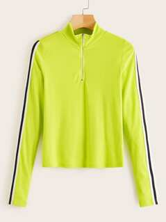 Neon Lime Side Striped Rib-knit Tee