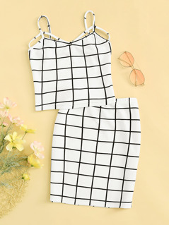 Grid Crop Cami Top & Skirt Set