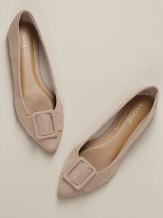Pointed Toe Buckle Detail Slip On Loafer Flats