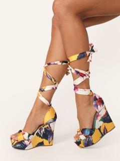 Bow Front Ankle Tie Print Platform Sandal Wedges
