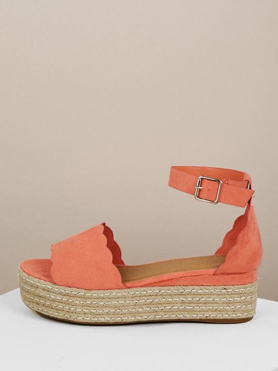 0df6924d096 Scallop Edge Wide Band Jute Trim Flatform Sandals