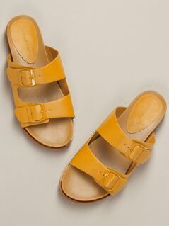 Twin Buckle Straps Flat Slide Sandals