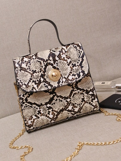 SheIn / Snakeskin Print Satchel Bag