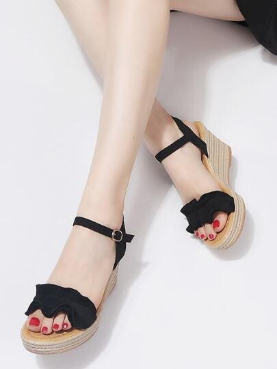 SheIn / Ruffle Decor Ankle Strap Wedge Sandals