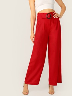 Pleated Belted Waist Wide Leg Palazzo Pants
