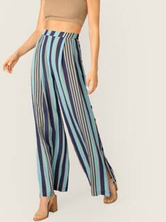Side Button Detail Striped Wide Leg Palazzo Pants