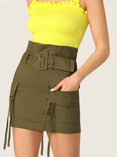 Belted Waist Side Pockets Cargo Mini Skirt