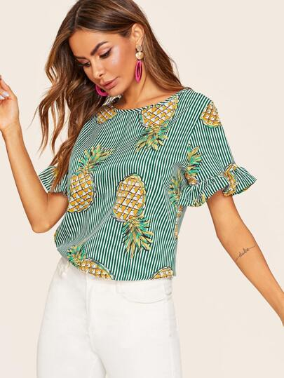 SheIn / Striped Pineapple Print Flounce Sleeve Blouse