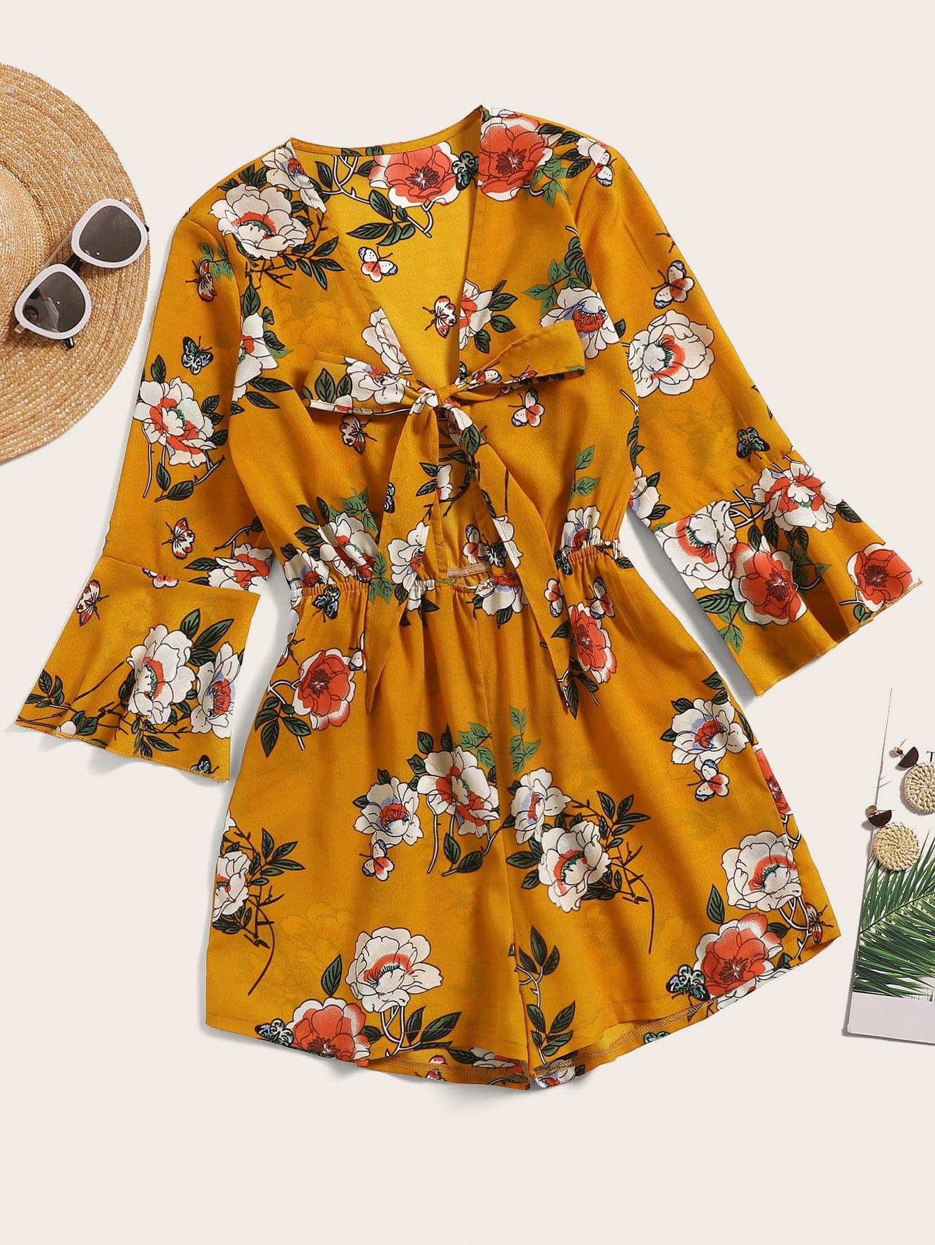 Фото - Цветочный комбинезон с бантом и оборкой на рукавах от SheIn цвет многоцветный